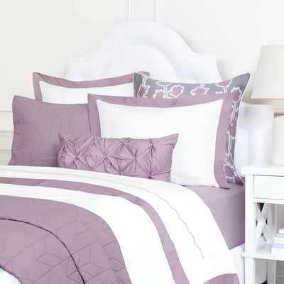 Bedroom inspiration and bedding decor | Lilac Purple Chevron Quilt Euro Sham Duvet Cover | Crane and Canopy