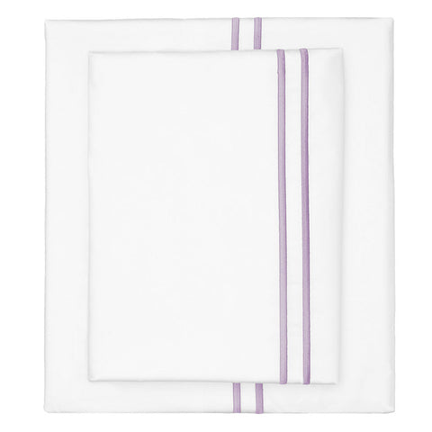Bedroom inspiration and bedding decor | The Lilac Purple Lines Embroidered Sheet Set | Crane and Canopy