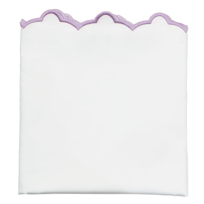 Lilac Purple Scalloped Embroidered Pillow Case