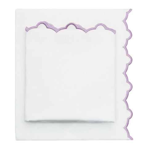 The Lilac Purple Scalloped Embroidered Sheet Set