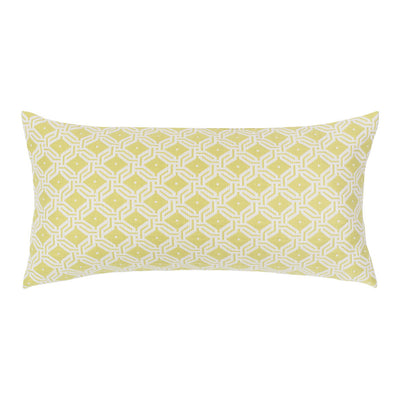 Lime and White Diamond Circlet Throw Pillow