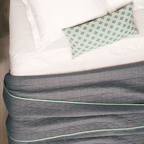 Bedroom inspiration and bedding decor | The Sea Mist Green and White Diamond Circlet Throw Pillows | Crane and Canopy