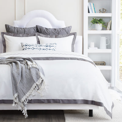 Bedroom inspiration and bedding decor | The Linden Charcoal Grey Border Duvet Cover | Crane and Canopy