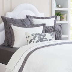 Bedroom inspiration and bedding decor | The Linden Charcoal Grey Border | Crane and Canopy