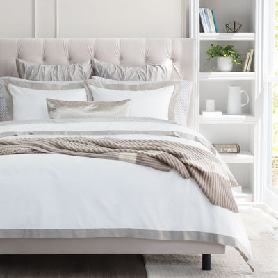 Bedroom inspiration and bedding decor | Dove Grey Linden Border Euro Sham Duvet Cover | Crane and Canopy