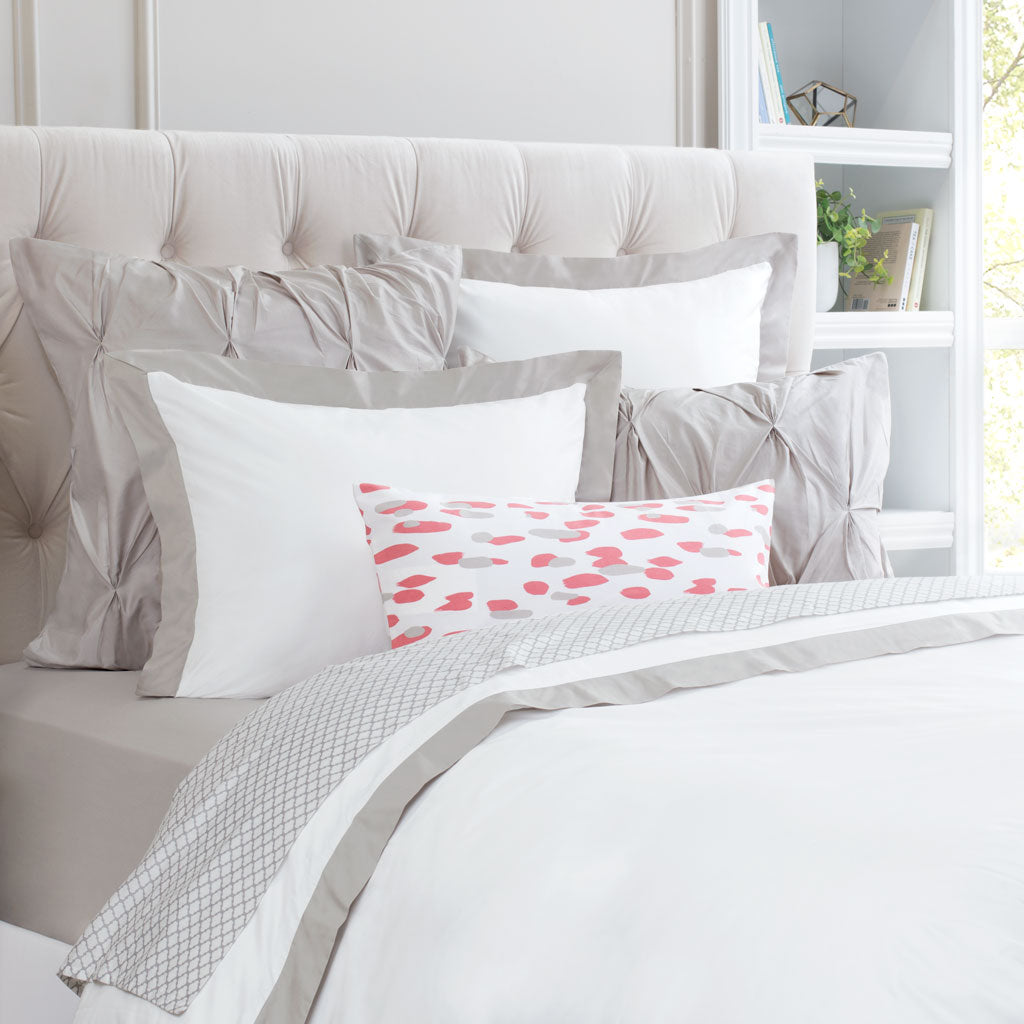 Bedroom inspiration and bedding decor | Dove Grey Linden Border Duvet Cover Duvet Cover | Crane and Canopy