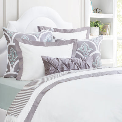Bedroom inspiration and bedding decor | The English Grey Linden Border Duvet Cover | Crane and Canopy