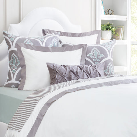 Bedroom inspiration and bedding decor | The English Grey Linden Border | Crane and Canopy