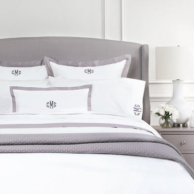 Bedroom inspiration and bedding decor | English Grey Linden Border Duvet Cover Duvet Cover | Crane and Canopy