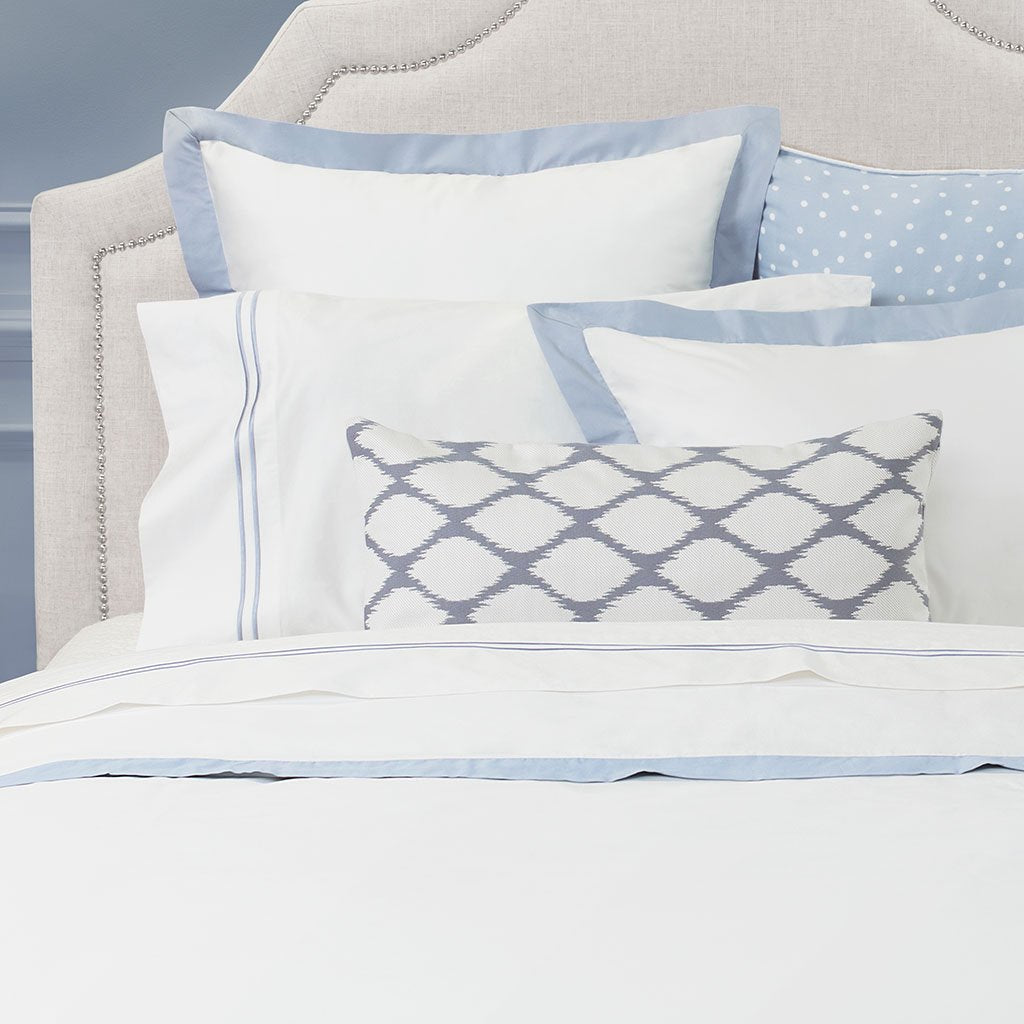 Bedroom inspiration and bedding decor | French Blue Linden Border Sham Duvet Cover | Crane and Canopy