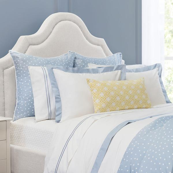 Bedroom inspiration and bedding decor | French Blue Linden Border Duvet Cover Duvet Cover | Crane and Canopy