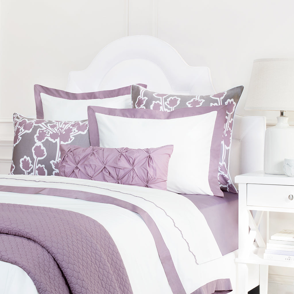 White And Light Purple Duvet The Linden Lilac Crane Canopy