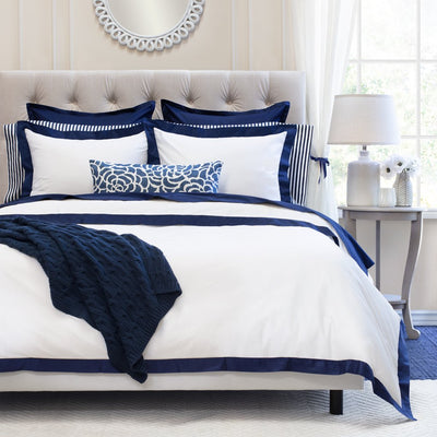 Bedroom inspiration and bedding decor | Navy Blue Linden Border Euro Sham Duvet Cover | Crane and Canopy