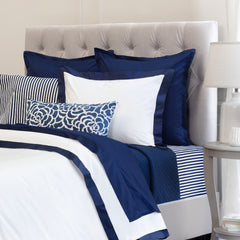 Great site for designer bedding | The Linden Navy Blue Border