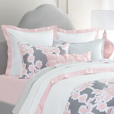 Bedroom inspiration and bedding decor | Pink Linden Border Euro Sham Duvet Cover | Crane and Canopy