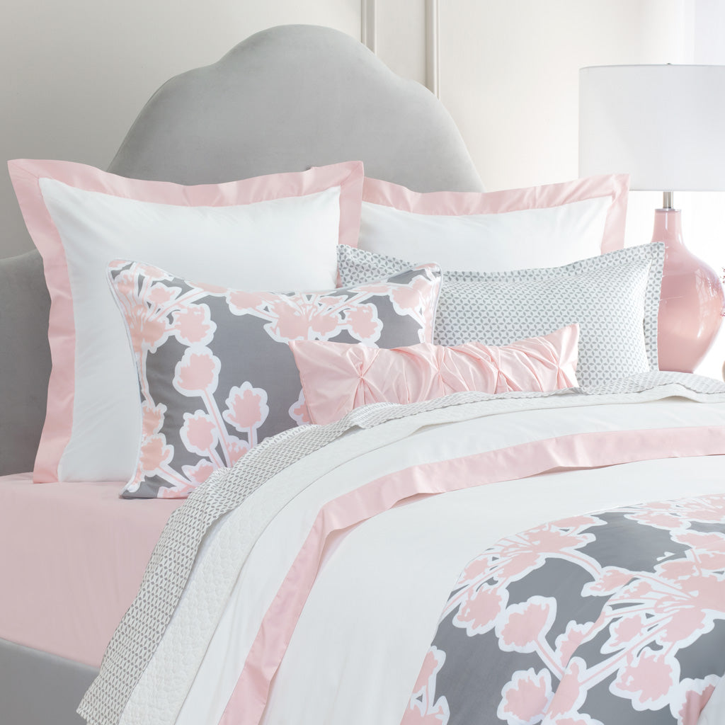 Bedroom inspiration and bedding decor | The Linden Pink Border Duvet Cover | Crane and Canopy