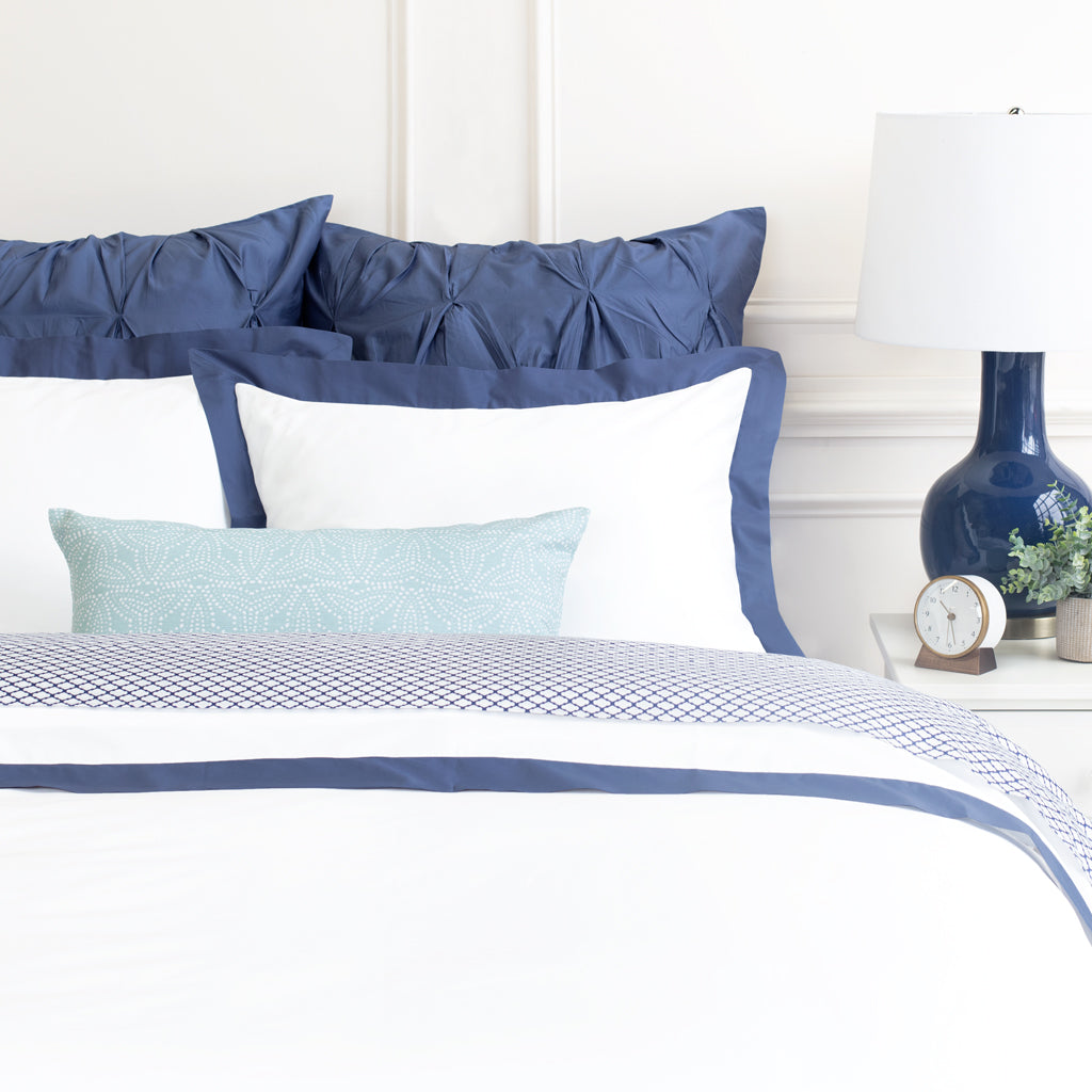 Slate Blue and White Bedding | The Linden Slate Blue Bedding