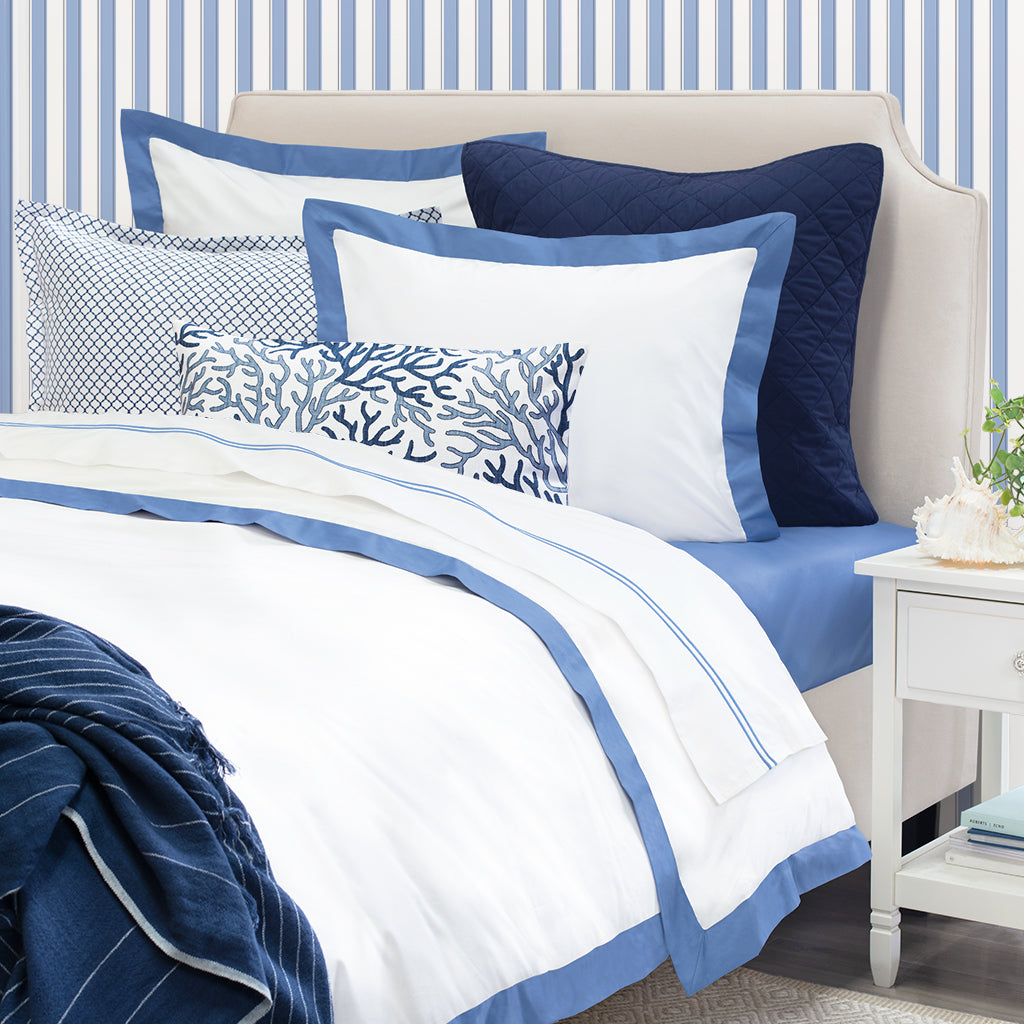 Bedroom inspiration and bedding decor | The Linden Capri Blue Border Duvet Cover | Crane and Canopy