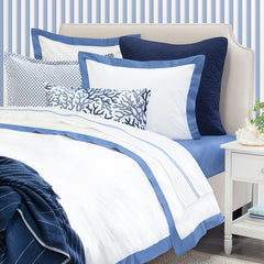 Bedroom inspiration and bedding decor | The Linden Capri Blue Border | Crane and Canopy