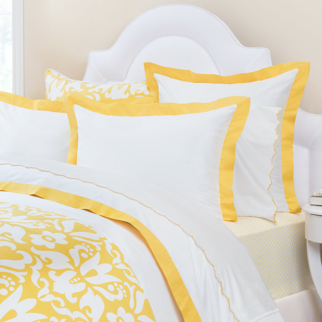 Bedroom inspiration and bedding decor | Yellow Linden Border Sham Duvet Cover | Crane and Canopy