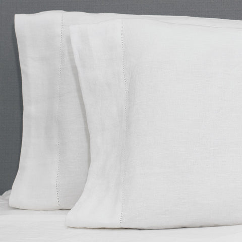White Belgian Flax Linen Pillow Case
