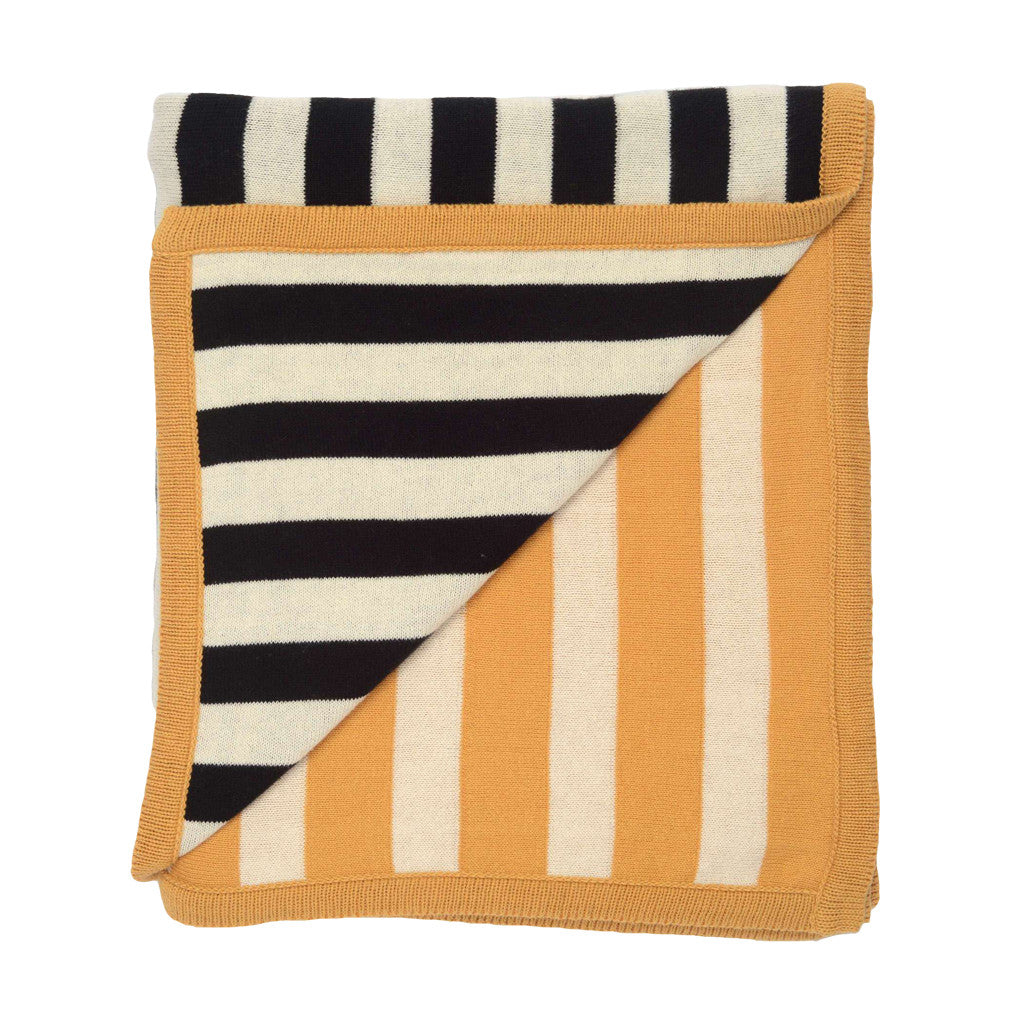 Bedroom inspiration and bedding decor | The Marigold-Black Dual Stripe Throw | Crane and Canopy