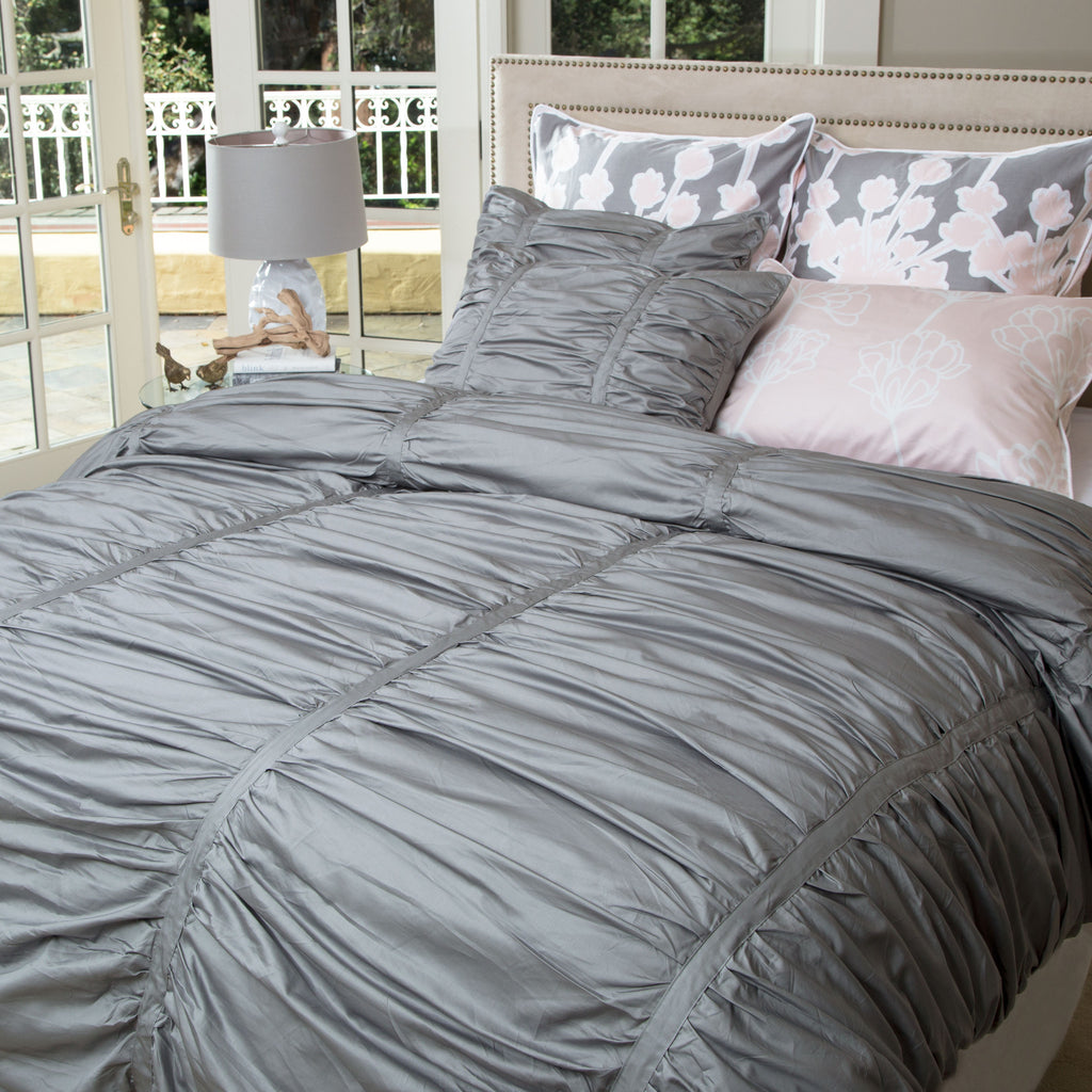 Gray Ruched Duvet Cover The Mirabel Gray Crane Canopy