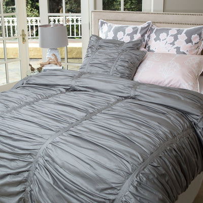 Gray Mirabel Ruched Duvet Cover