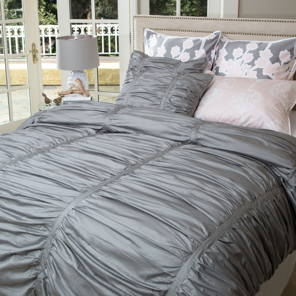 Bedroom inspiration and bedding decor | Gray Mirabel Ruched Sham Duvet Cover | Crane and Canopy