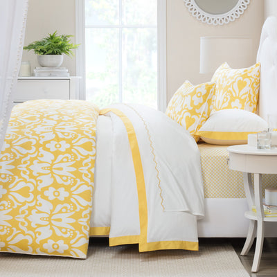 Bedroom inspiration and bedding decor | The Scalloped Embroidered Yellow Sheet Sets | Crane and Canopy