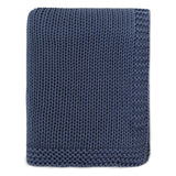 Navy Border Knotted Throw