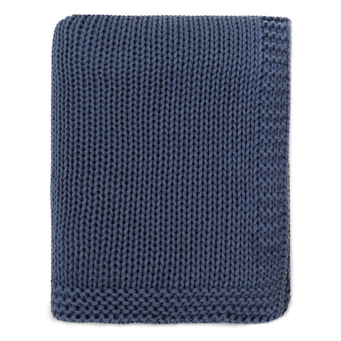 The Navy Border Knotted Throw