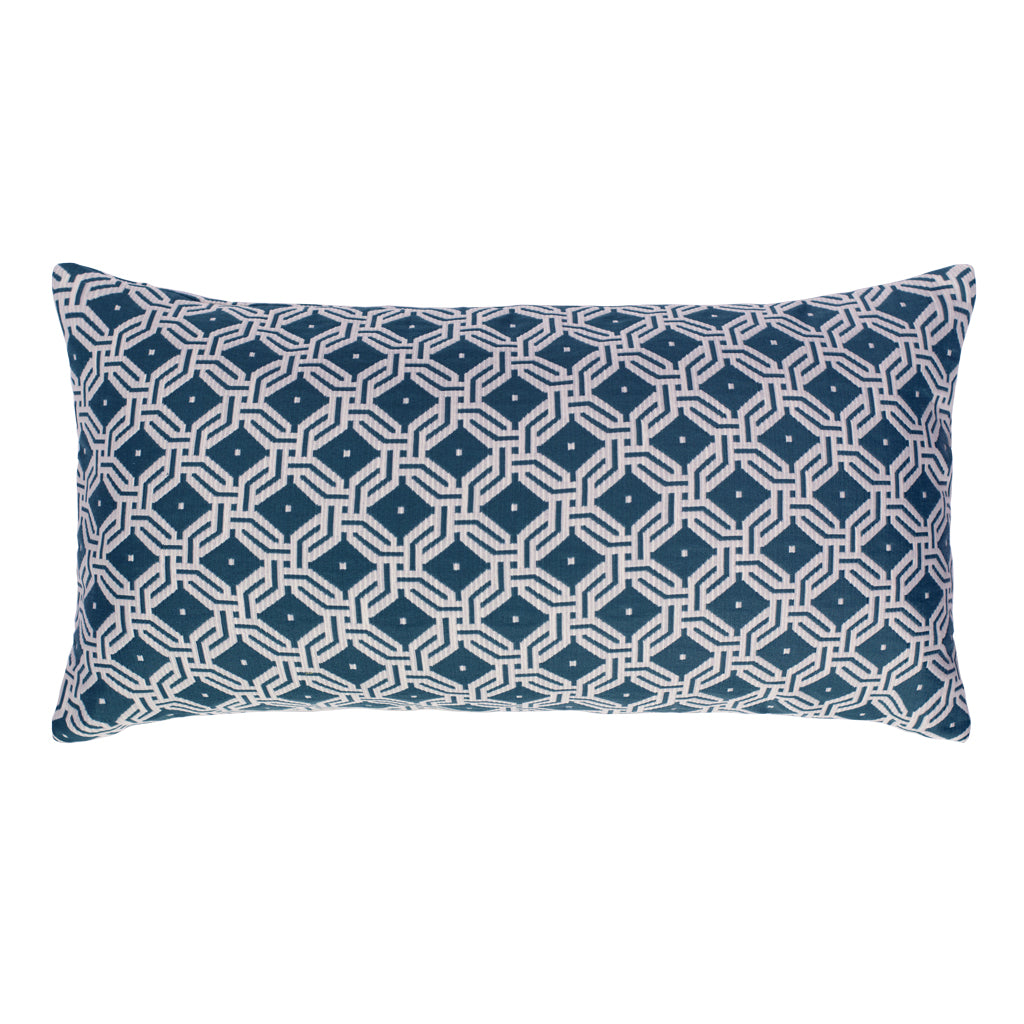 Bedroom inspiration and bedding decor | Midnight Blue and White Diamond Circlet Throw Pillow Duvet Cover | Crane and Canopy