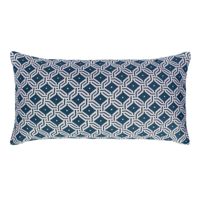 Midnight Blue and White Diamond Circlet Throw Pillow