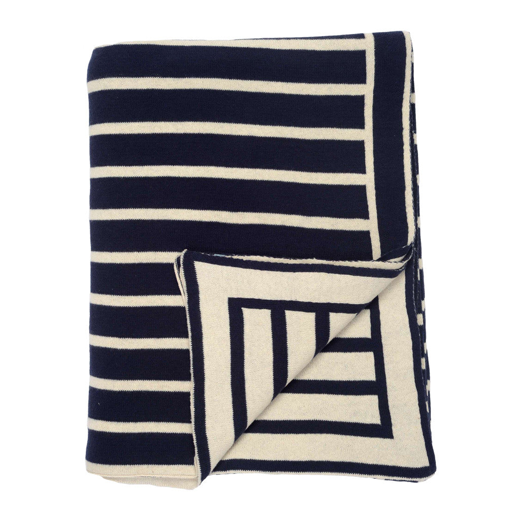 Bedroom inspiration and bedding decor | The Dark Navy Beach Stripes Throw | Crane and Canopy