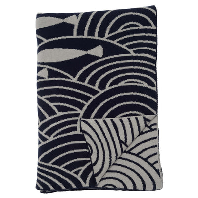 Navy By the Sea Reversible Patterned Throw