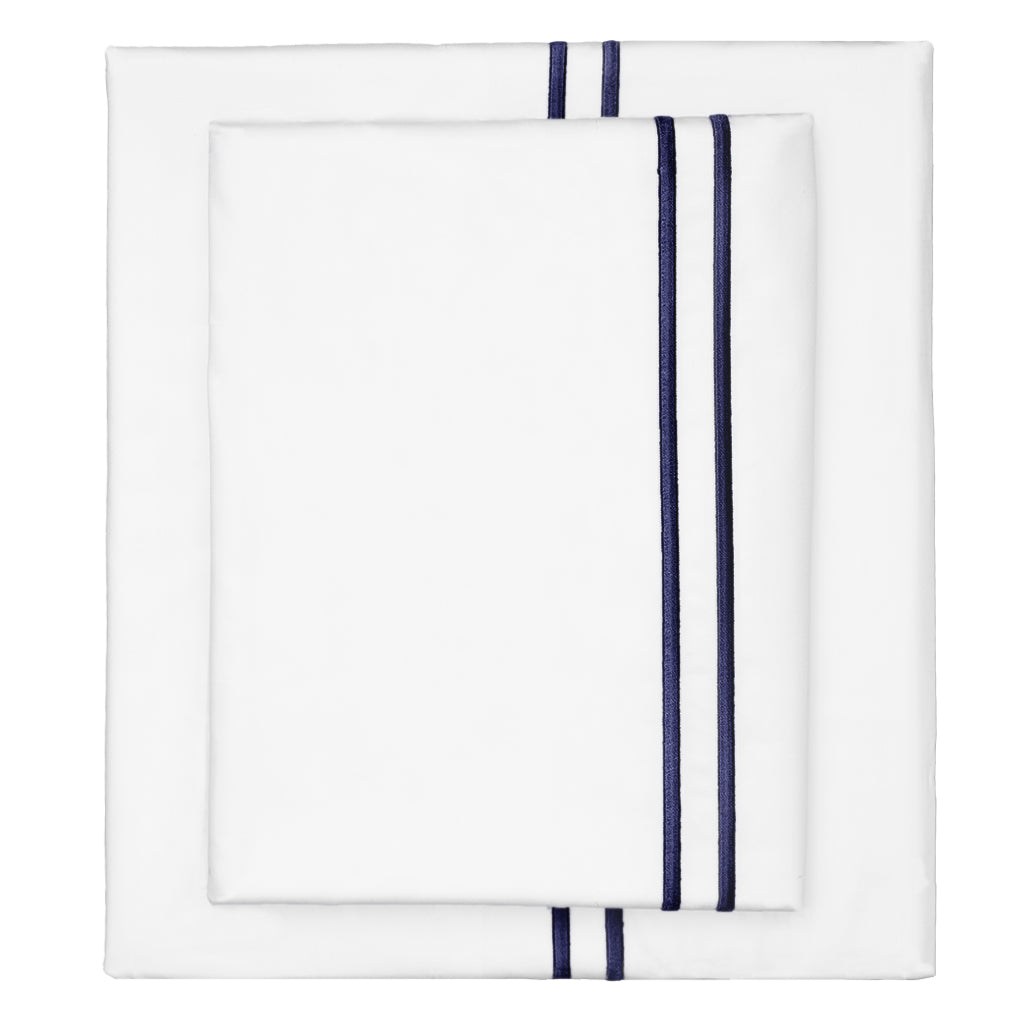 Bedroom inspiration and bedding decor | The Navy Lines Embroidered Sheet Sets | Crane and Canopy