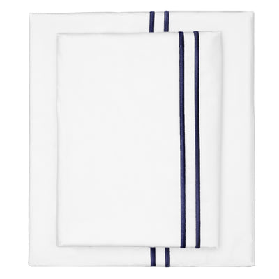 Navy Lines Embroidered Sheet Set 1 (Fitted, Flat, & Pillow Cases)