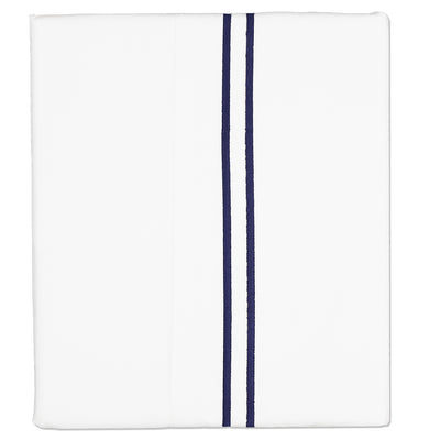 Navy Lines Embroidered Flat Sheet