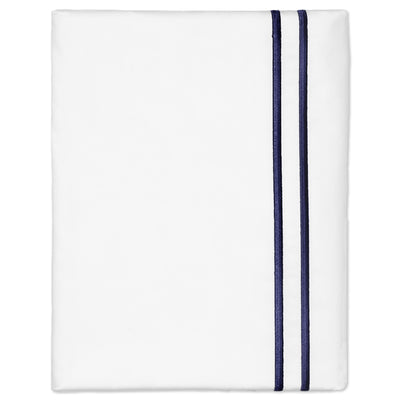 Navy Lines Embroidered Pillow Case