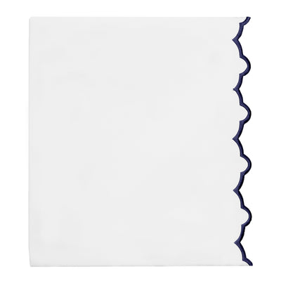 Navy Scalloped Embroidered Flat Sheet