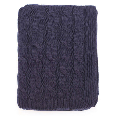 Navy Large Cable Knit Throw