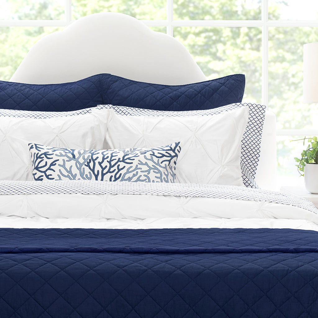 Bedroom inspiration and bedding decor | The Diamond Navy Blue Quilt & Sham Duvet Cover | Crane and Canopy