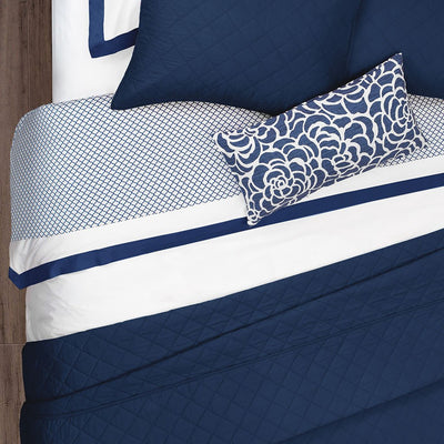 Bedroom inspiration and bedding decor | Navy Blue Linden Border Duvet Cover Duvet Cover | Crane and Canopy