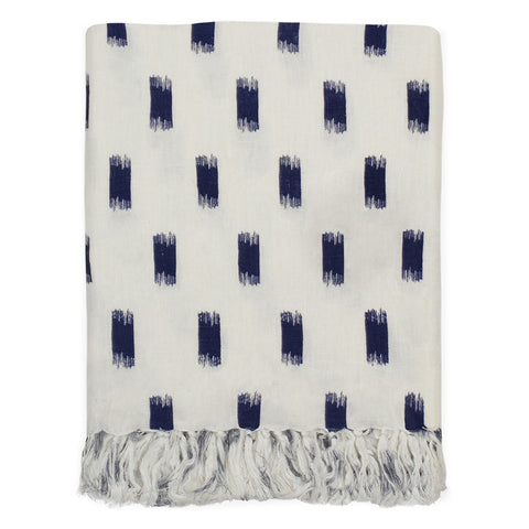 The Navy Ikat Brushstrokes Linen Throw