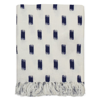 Navy Ikat Brushstrokes Linen Throw