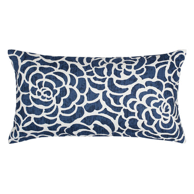 Navy Peony Throw Pillow