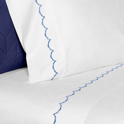 Bedroom inspiration and bedding decor | The Ocean Blue Wavelet Embroidered Sheet Sets | Crane and Canopy