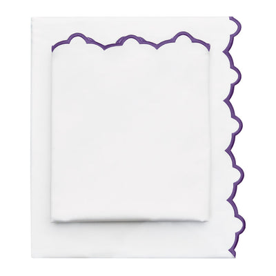 Purple Scalloped Embroidered Sheet Set 1 (Fitted, Flat, & Pillow Cases)