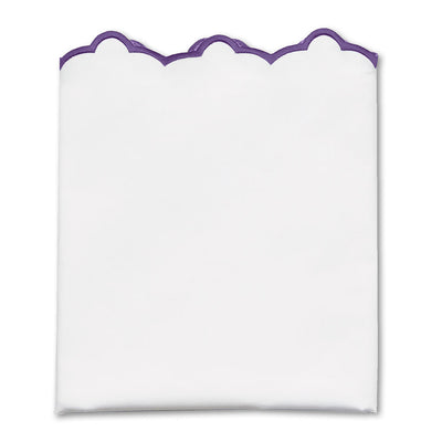 Purple Scalloped Embroidered Pillow Case